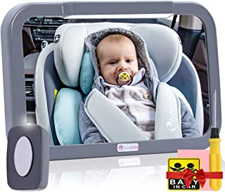 Baby Car Mirror with Light, Innokids Dual Mode LED Lighting by Remote Control, Clear View of Infant in Rear Facing Back Se...