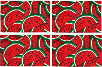 InterestPrint Seamless Pattern Red Watermelon Juicy Hello Summer Placemat Table Mats Set of 4, Heat Resistant Place Mat for Dining Table Restaurant Home Kitchen Decor 12x18