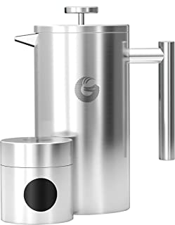 Large Stainless Steel Cafetiere Coffee Maker - Vacuum Insulated French Press - with Mini Storage Canister - by Coffee Gato...