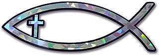 Elektroplate Christian Fish with Cross Reflective Decal Sticker Emblem