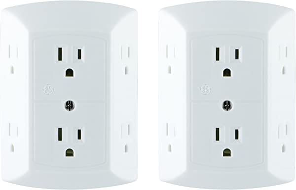 GE 6 Outlet Wall Plug Adapter Power Strip 2 Pack Extra Wide Spaced Outlets Power Adapter 3 Prong Multi Outlet Wall Charger Quick Easy Install White 40222