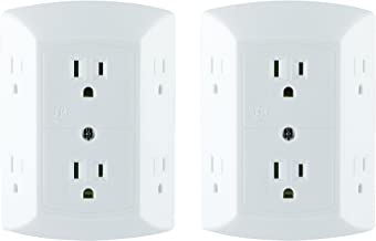 GE 6 Outlet Wall Plug Adapter Power Strip 2 Pack, Extra Wide Spaced Outlets, Power Adapter, 3 Prong, Multi Outlet Wall Charger, Quick & Easy Install, White, 40222