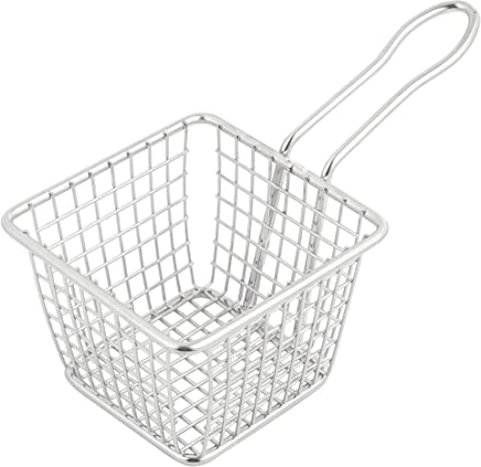 TableTop King 4-88864 5 x 7 Stainless Steel Wire Cone Basket with Ramekin Holder