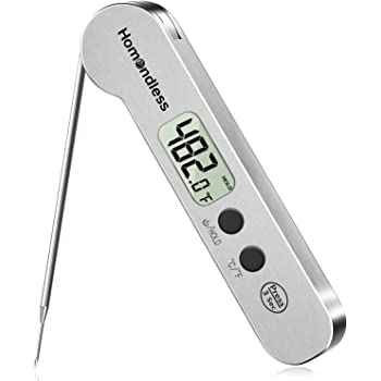 2020 Upgraded Meat Thermometer, Instant Read Stainless Steel Ultra-Fast Digital Food Cooking Thermometer, IP67 Waterproof, Magnet, Backlight for Kitchen, Candy, Turkey, Grill, Smoker