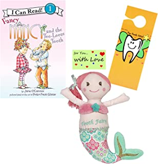 Girls Mermaid Plush Tooth Fairy Pillow, Fancy Nancy & the Too-Loose Tooth Book w/Door Hanger & Gift Card