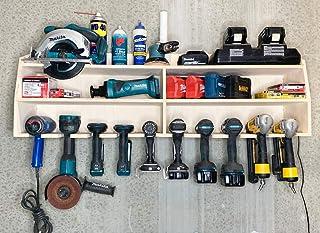 Cordless Drill Tool Holder Organization Storage Rack Wood Shelf Case Organizer 10-Slot Birch...