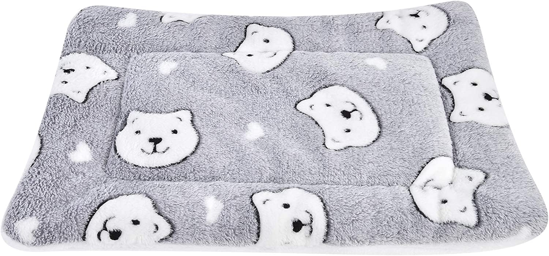 Vejaoo Alfombra Manta para Mascotas Otoño e Invierno Manta Cálida Terciopelo de Franela Perro/Gato Cama XZ006 (79 * 60 CM, Grey Bear)