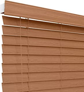 Chicology Faux Wood Blinds / window horizontal 2-inch venetian slat, Faux Wood, Variable Light Control - Simply Brown, 32