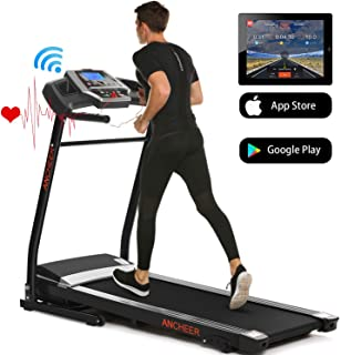 ANCHEER Treadmills for Home Running Machine with Incline - Folding Treadmill Electric Motorized Power with 12 Preset Programs & Smartphone APP Control, Cardio Workout Gym Exercise Equipment