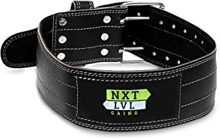 Nxt Lvl Gains Leather Weight Lifting Belt for Fitness with Men and Women - Provides Lower Back and Core Support in Workout Power Lifting Squats & Deadlifts