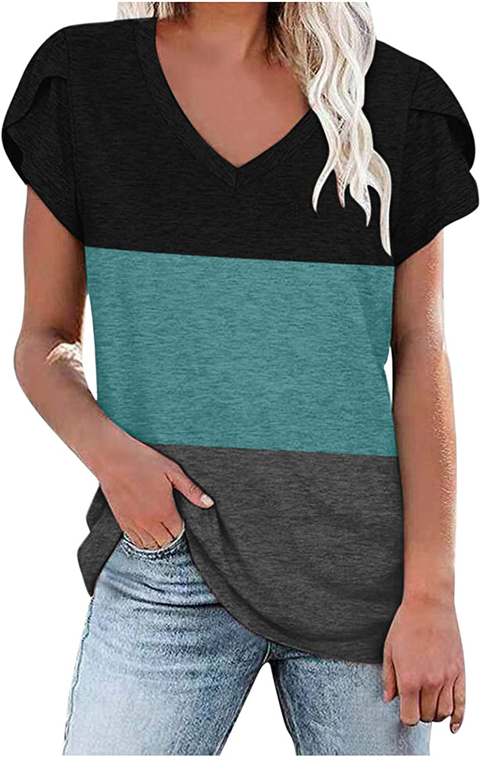 AODONG Womens Summer Tops with Sleeves Casual Blouse Color Block V-Neck T-Shirt Short Sleeves Tunics Womens Tops Green