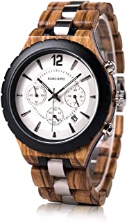 BOBO BIRD Mens Luxury Stylish Wooden Watches Date & Chronograph Military Quartz Timepieces