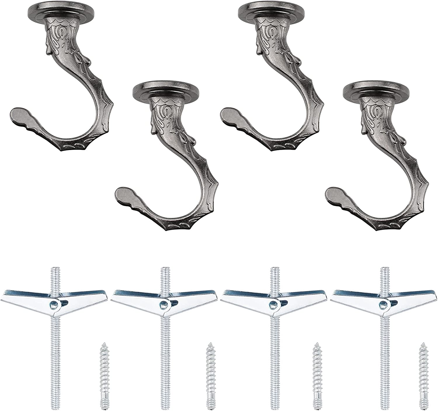 Mail order cheap INCREWAY Swag Hooks 4 Sets Ceili Fees free Duty Ceiling Heavy