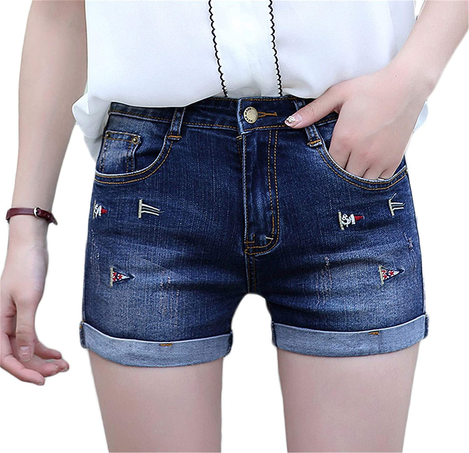 Andongnywell Women's Ripped Denim Jean Shorts Mid Rise Stretchy Folded Hem Short Jeans Distressed Hot Trousers