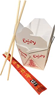 COMBO - Pack of 25 Chinese Take Out Boxes PAGODA 16 oz / Pint Size Party Favor and Food Pail With 25 Chopsticks