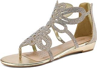 Winsummer Women Leatherette Rhinestone Toe Ring Slingback Dressy Sandal Strappy Flat Gladiator Sandals Roman Shoes