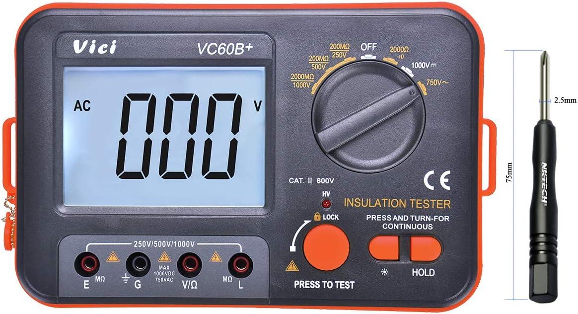 nktech Vici VC60B + Digital LCD Megger MegOhm metros probador de aislamiento DC AC voltaje resistencia DC-250/500/1000 V ac-750 V retroiluminación multímetro probador con