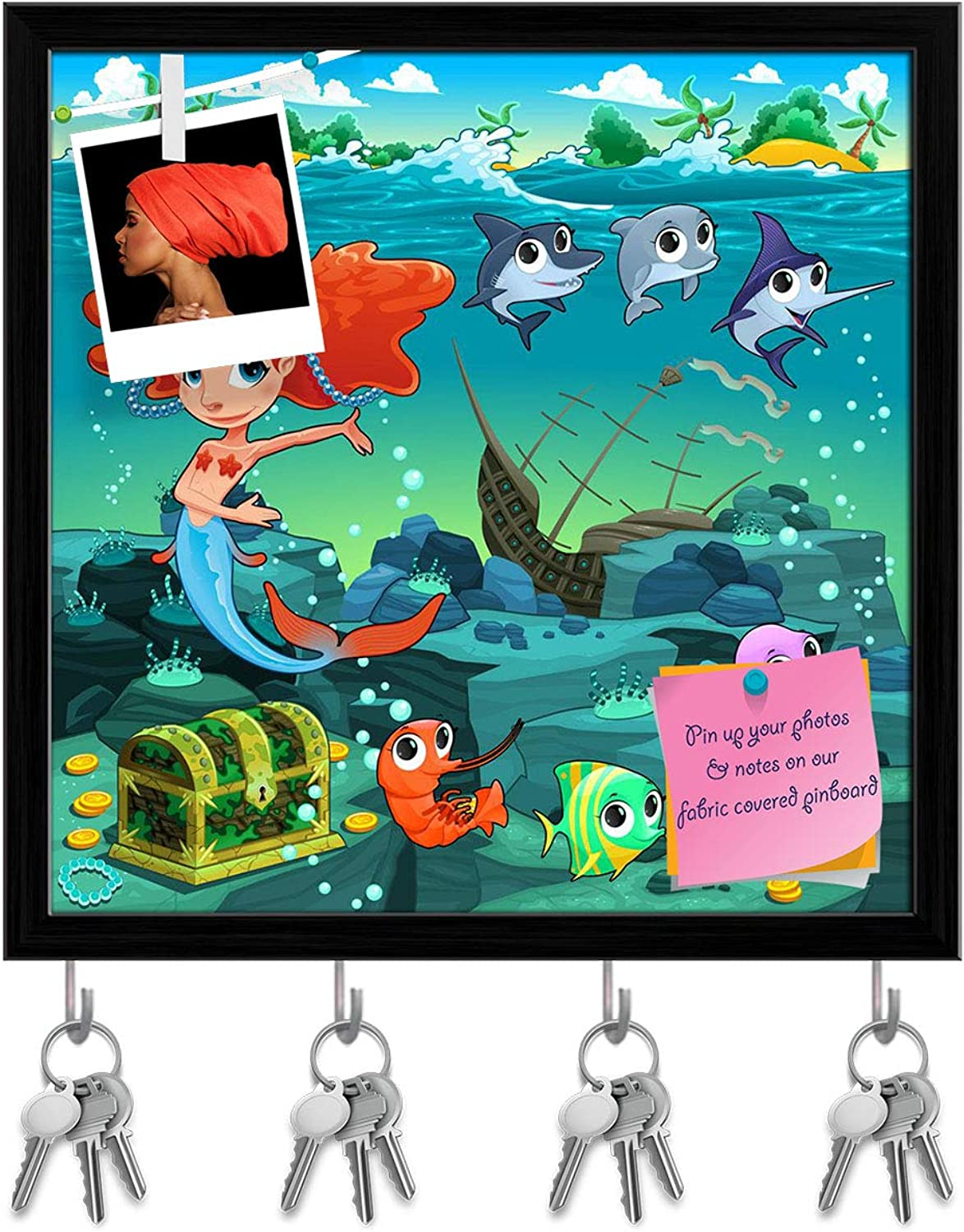 Artzfolio Mermaid with Funny Animals Key Holder Hooks   Notice Pin Board   Black Frame 20 X 20Inch