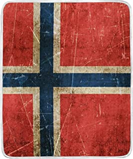 FannyMT Norwegian Flag Blanket Throw Lightweight Cozy Plush Microfiber Solid Blankets for Kids Adults, 60 x 50 Inch