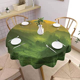 SONGDAYONE Polyester Round Tablecloth Room Decorations Collection Table Decoration Sunrise View of Tea Plantation Field Freshness Morning at Cameron Highland Malaysia Image (Round,60 Inch) Green