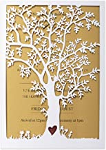 KUCHYNEE 20PCS Rustic Laser Cut Tree Wedding Invitations Cards with Envelopes for Bridal Shower Engagement, Heart Design F...