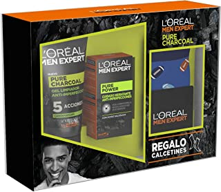 LOréal Men Expert - Pack con Crema hidratante Pure Power 50 ml y Limpiador Pure Charcoal 100 ml
