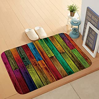 Bath Mat Non-Slip Absorbent Soft Mat,Solid Wood Floor Printing pad,Suitable for Bathroom Living Room Kitchen Bedroom,40 * ...