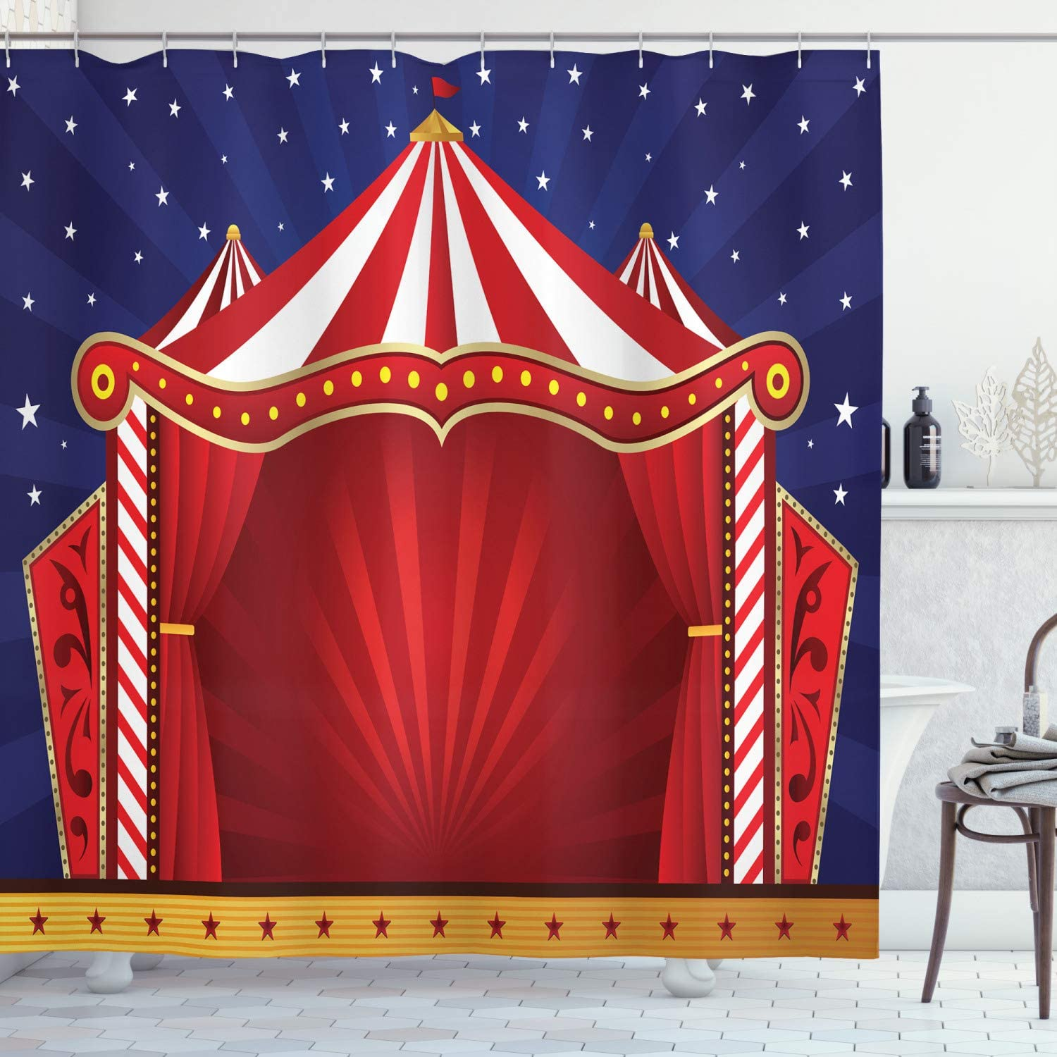 Ambesonne Circus Shower Curtain Retro Regular discount Tent Be super welcome Stage Themed Canvas
