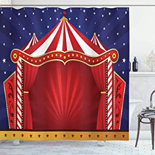 Ambesonne Circus Shower Curtain, Canvas Tent Circus Stage Performing Theater Jokes Clown Cheerful Night Theme, Cloth Fabric Bathroom Decor Set with Hooks, 70