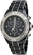 Oniss #ON627-M Men's Black Ice Crystal Accented Ceramic Chronograph Watch
