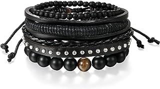 JewelryWe Bijoux Bracelet Artisanal Multi-Rangs Manchette Rétro Bois Perle Boule Tressé Cuir Alliage Fantaisie pour Homme ...