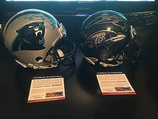 PSA/DNA Authenticated Autographed Signed Memorabilia Panthers & Ravens Steve Smith Sr. Mini Helmets