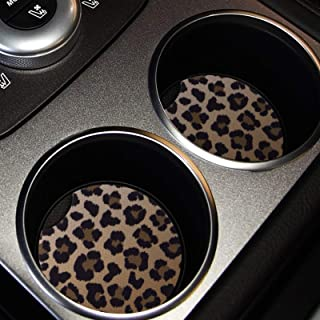 lifeegrn Car Coasters, Car Cup Holder Coasters, 2.76 Inches Car Coasters for Cup Holders, Anti Slip Removable Universal Neoprene Drinks Absorbent, Car Coasters for Women(Leopard 2 Packs)
