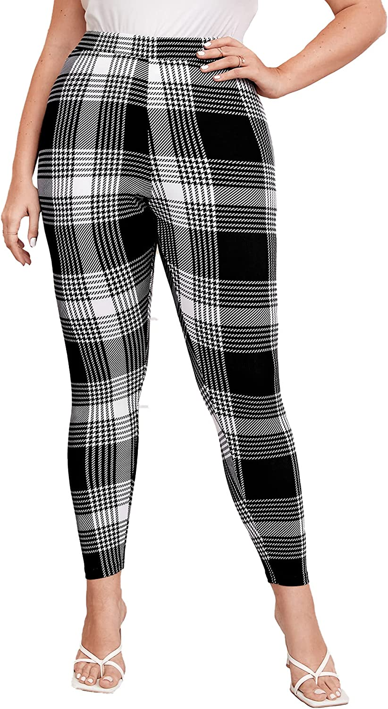 Milumia Women's Plus Size Plaid High Waisted Skinny Pants Stretchy Sports Leggings