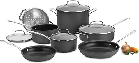 Cuisinart Chef's Classic Nonstick Hard-Anodized 11-Piece Cookware Set,Black