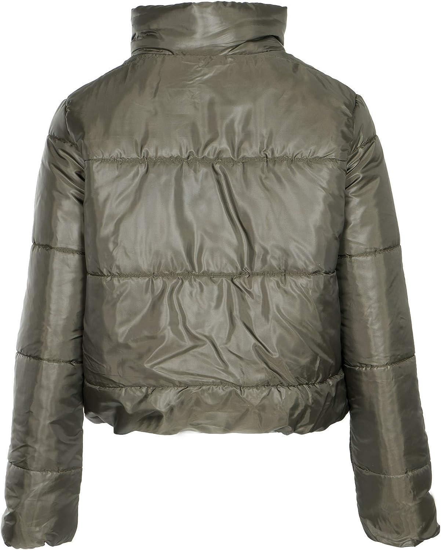 NOROZE Damen Crop Jacke Steppjacke Kurzes Puffer-Mantel Khaki