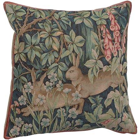 william morris modern Dark floral cushion cover cotton canvas black rose