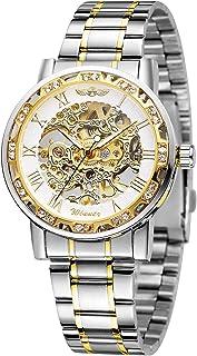 FORSINING Fashion Diamond Luminous Movement with Roman Number Mechanical Skeleton Wrist Watch