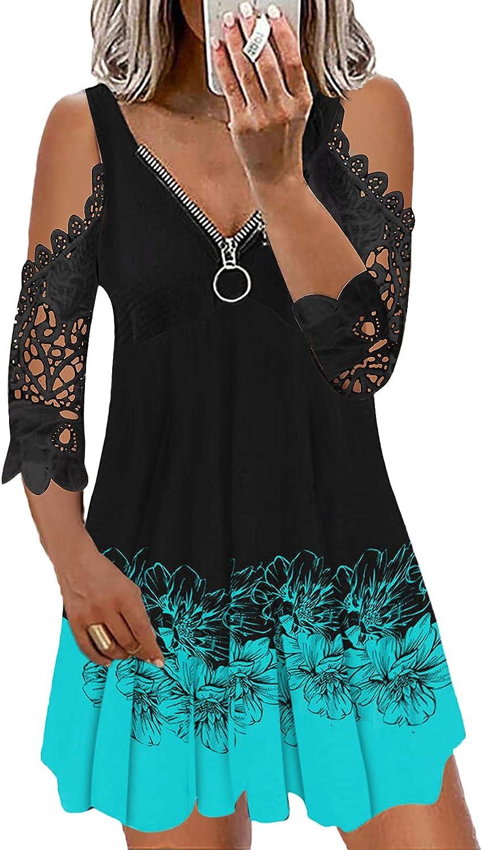 Women Fashion Casual Lace V-Neck Short Sleeve Strap Open Back Sexy Zipper Dress Mini Dress Cocktail Sundress