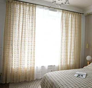 LAGHCAT Crochet Curtains, French Country Diamond Pattern Crochet Beige Window Drape Curtain Panel 100% Linen Cotton, One Panel, 38WX70L inches