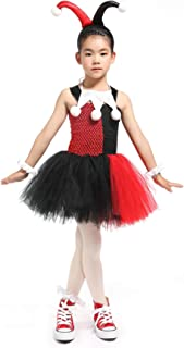 MOCUER Halloween Superhero Costumes for Girls Birthday Party Clown Girl Costume Black and Red