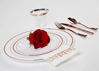 100 Pack White and Rose Gold Decorative Disposable Bathroom Towels Soft and Absorbent Linen-Feel Paper Napkins Guest Towels for Bathroom Kitchen and Special Events Ideal for Wedding Dinner Reception
