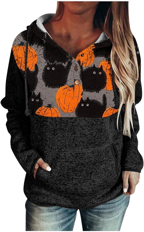 Wugeshangmao Halloween Buttons Hoodies for Women Long Sleeve Black Cats Print Hooded Sweatshirt Drawstring Pullover Tops