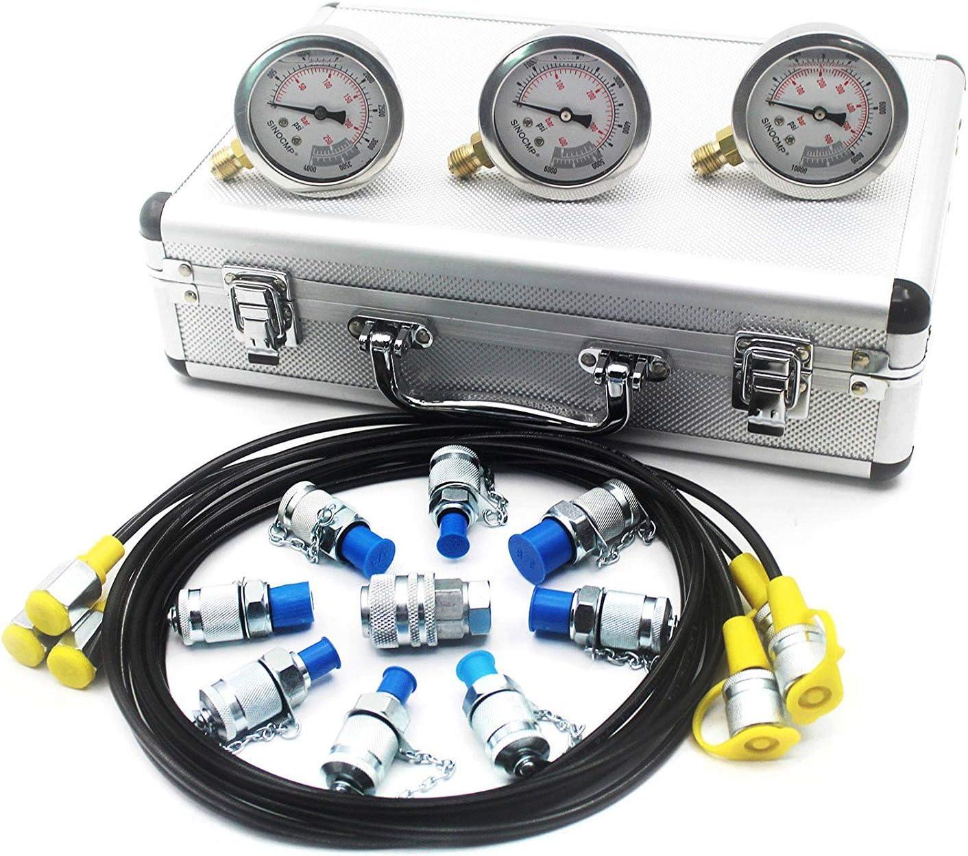 SINOCMP Hydraulic Pressure Test Pre 25% OFF Baltimore Mall Kit Gauge