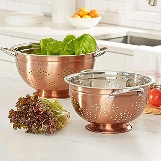 BrylaneHome Set Of 2 Copper Colanders, Copper