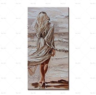 Peinture À L'Huile Peinte À La Main Sur Toile,Moderne Coloré 100% Peint À La Main Caractère Peinture Abstraite Moderne Col...