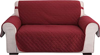 UMI. by Amazon Funda Sofa Protectora Decorativa de Salon Elastica 2 Plazas Rojo Oscuro