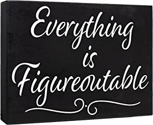JennyGems Inspirational Farmhouse Wall Decor, Everything is Figureoutable Wood Sign, Motivational Wall Art, Positive Affirmations, Uplifting Encouragement Gifts, Inspirational Quotes, Home Office Decor