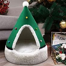Studyset Pet Tent Soft Bed,Cute Pet Cat Dog House Christmas Tree Shape Washable Winter Warm Sleeping Nest Bed