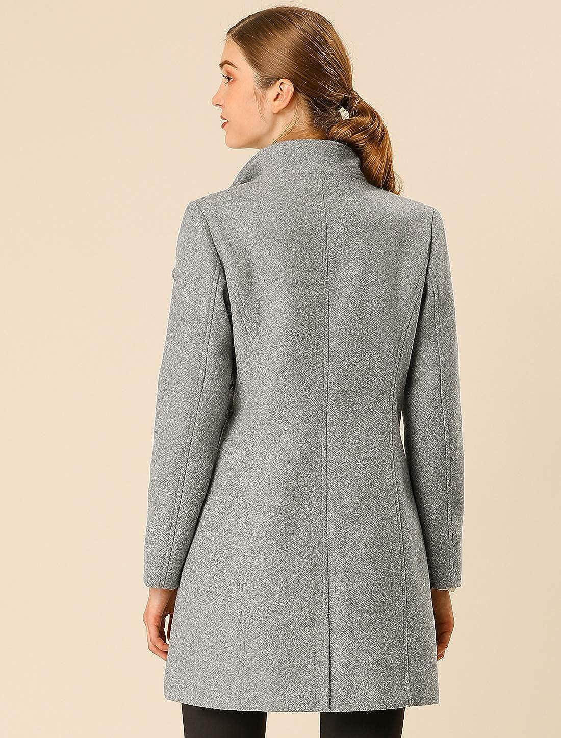 Allegra K Damen Langarm Stehkragen Bindegürtel Trenchcoat Mantel Grau